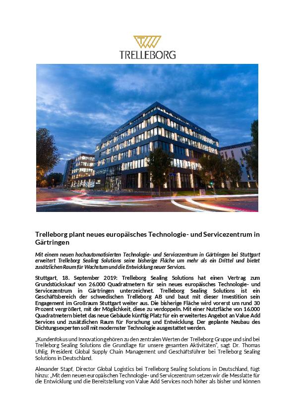 Presseartikel Trelleborg kauft erste Fläche im Gewerbegebiet Riedbrunnen